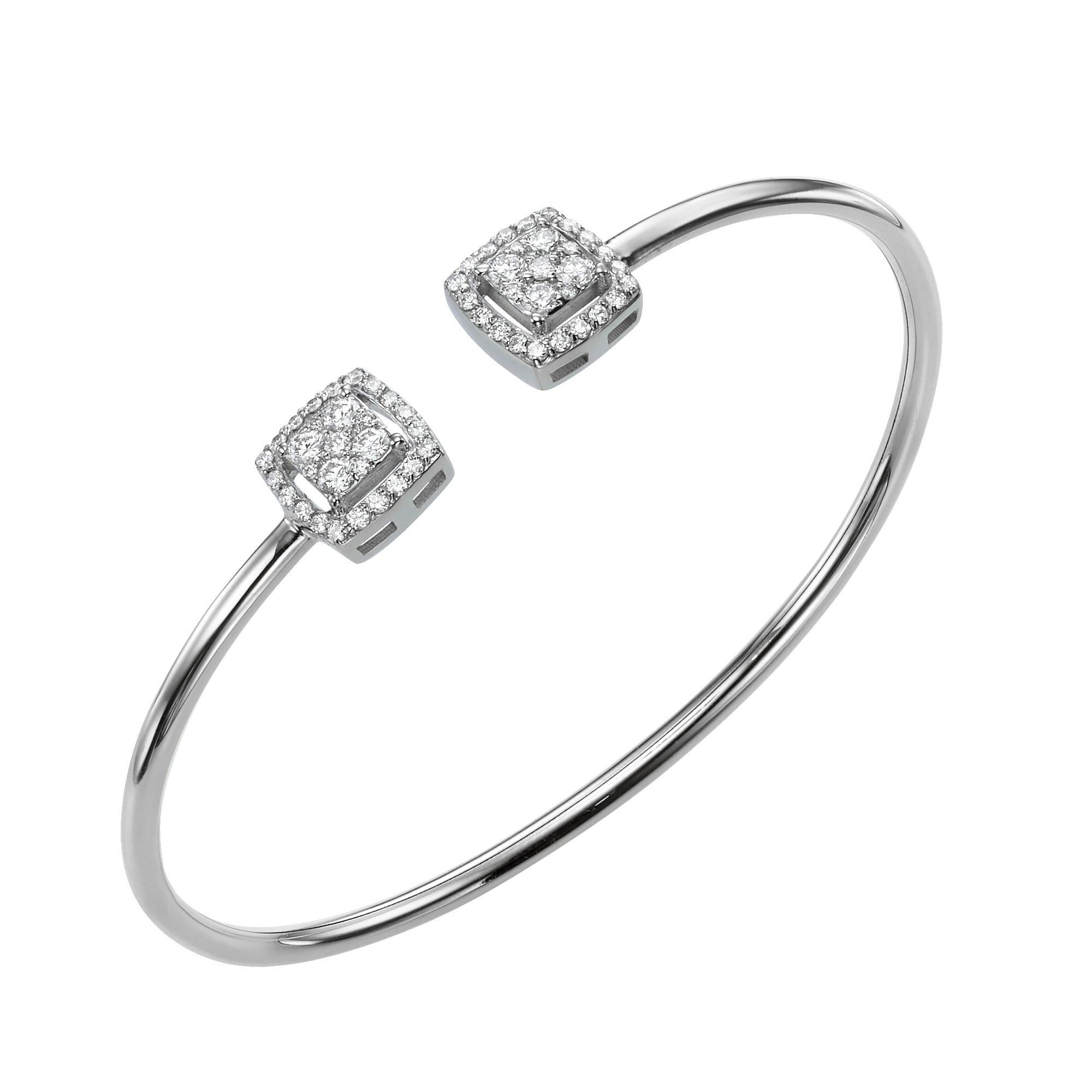 0.68 Carat Diamond Bangle Charm Bracelet 18 Karat Gold Diamond Bangle Bracelet