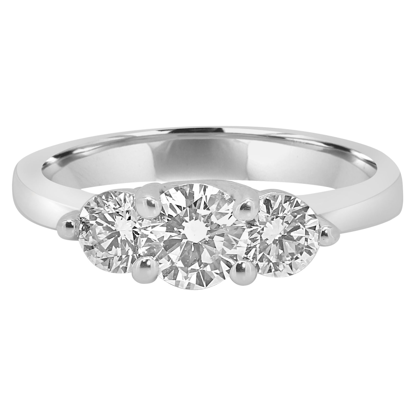 1.00 Carat Total Weight Diamond Round Three-Stone Bridal Platinum Ring