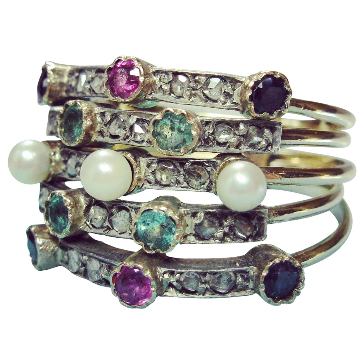 Rose Cut Diamond Emerald Sapphire Ruby Pearl Harem Ring 5 Stack Rings Victorian