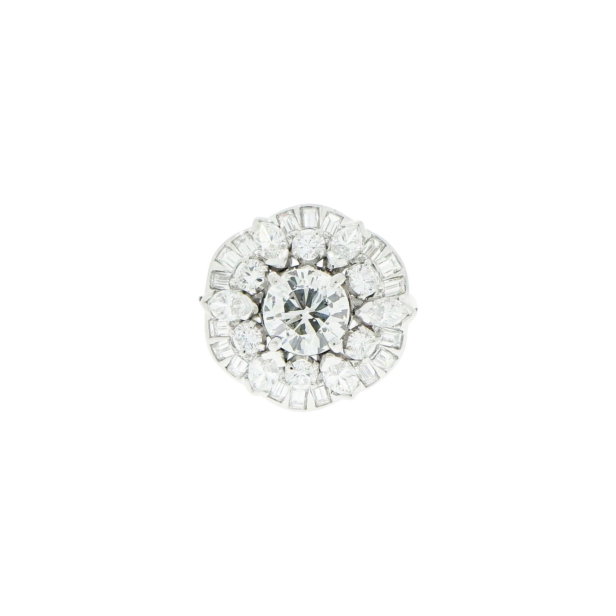Platinum Diamond Cluster Retro Cocktail Ring