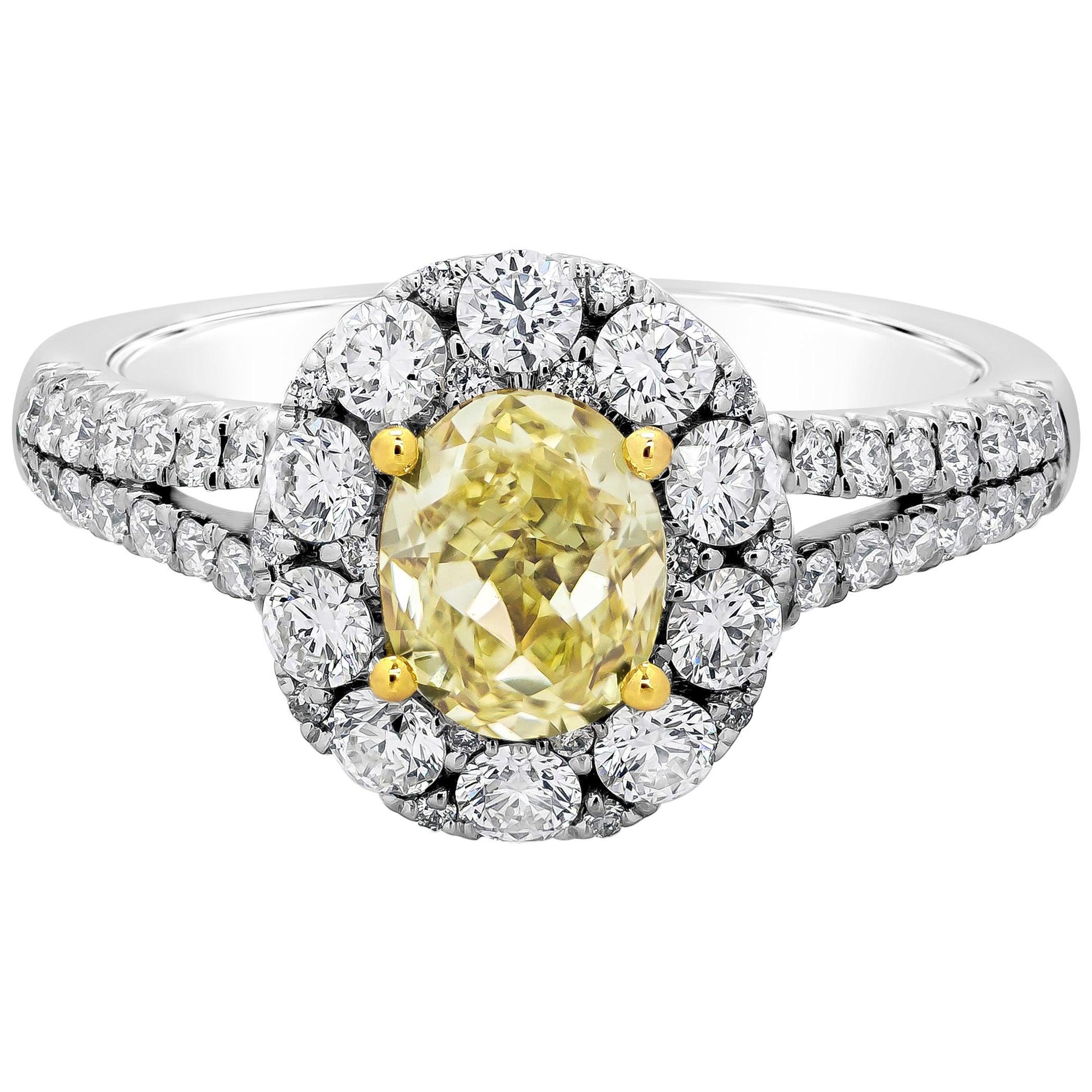 Roman Malakov, Oval Cut Yellow Diamond Halo Split-Shank Engagement Ring