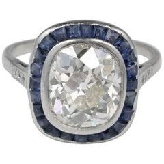 Rare Antique 5.15 Carat Diamond Solitaire Plus Platinum Ring