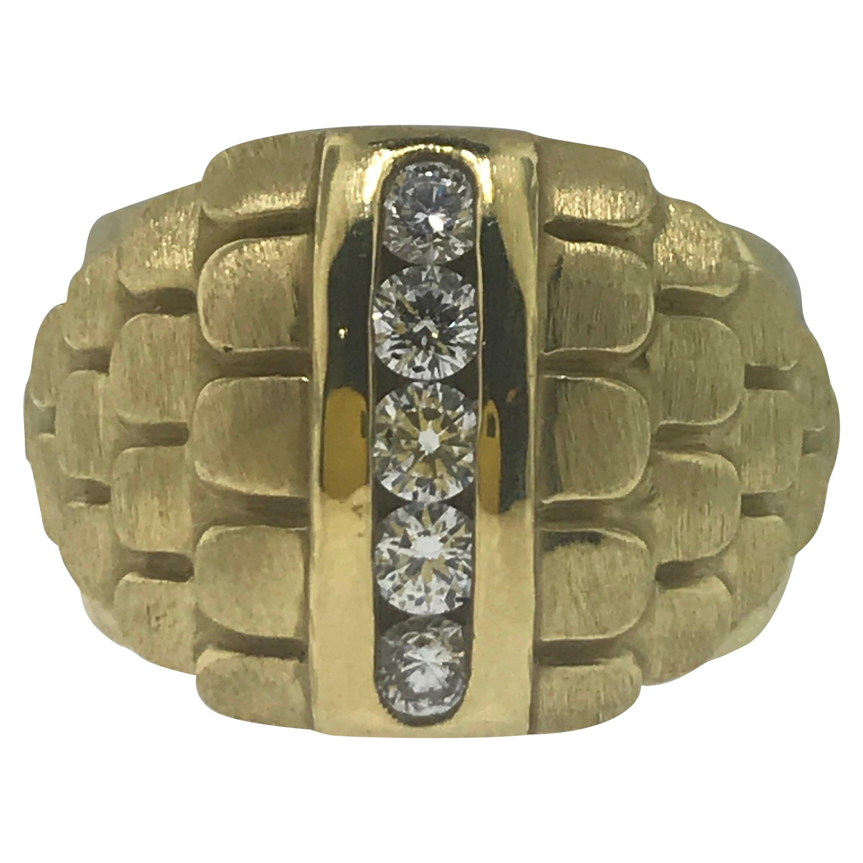Original Eran Avital Ring '3/4' Carat Diamond 18 Karat Yellow Gold Dome Ring
