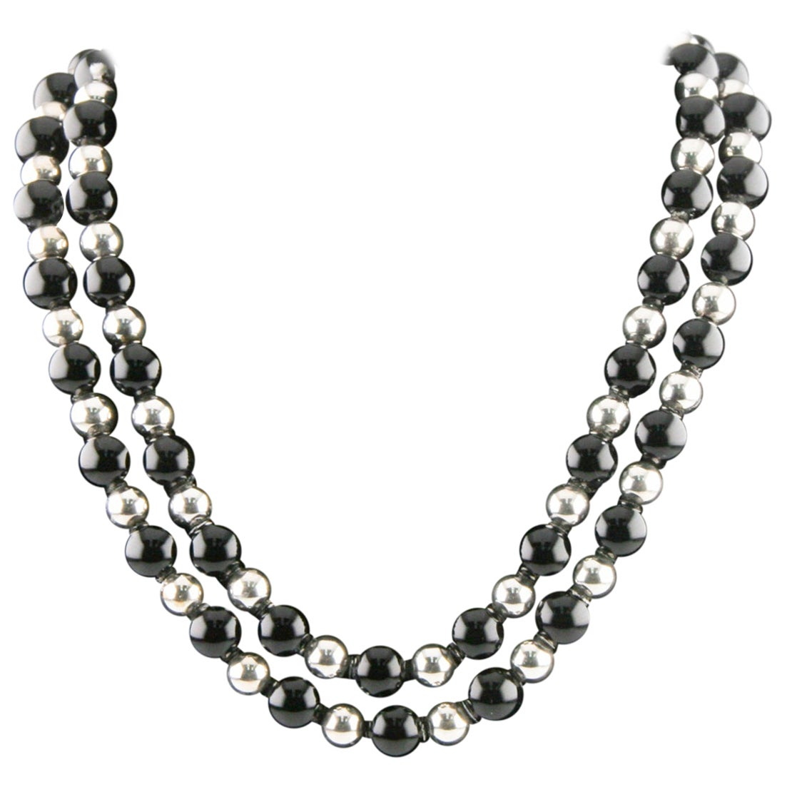 Tiffany & Co. Sterling Silver and Black Onyx Beaded Necklace