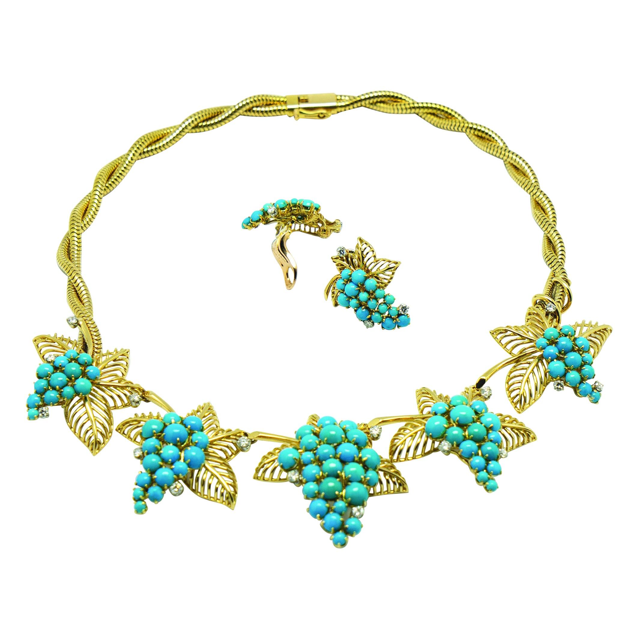 Boucheron Paris Turquoise Diamond Gold Necklace Earrings Set, 1950s