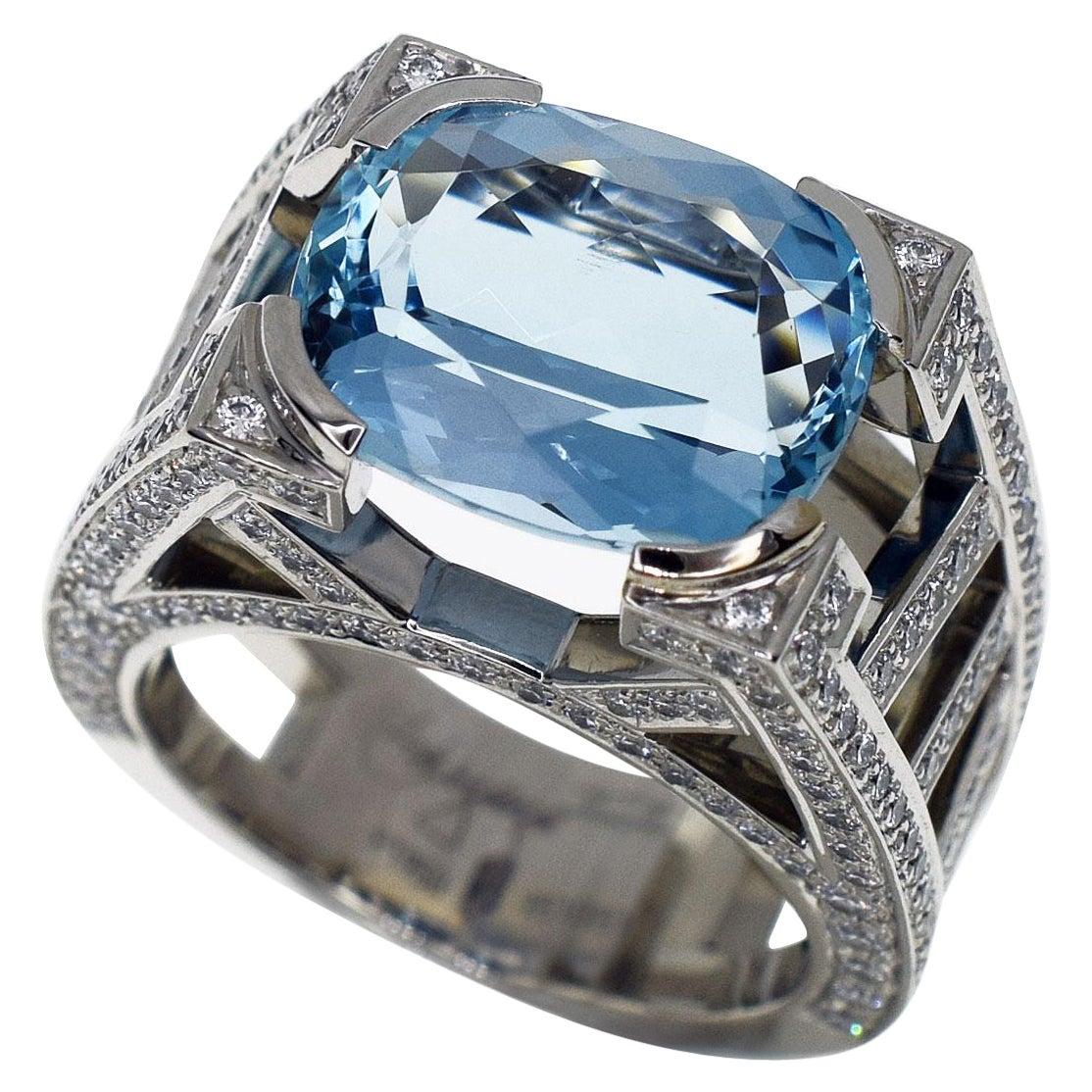 Harry Winston Aquamarine Diamonds Platinum Ring