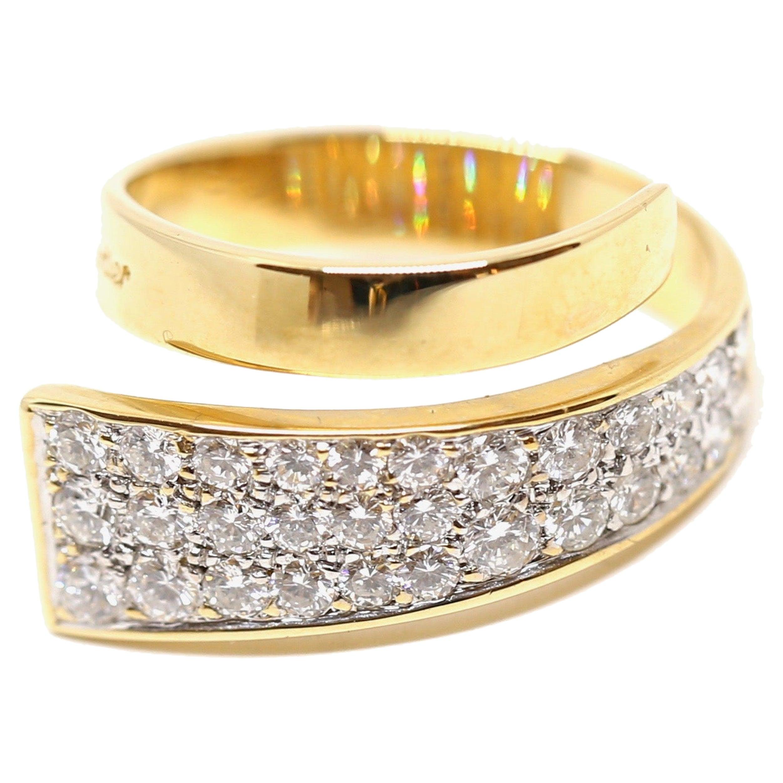 1960s Jean Dinh Van for Cartier 18 Karat Modernist Ring with Diamonds