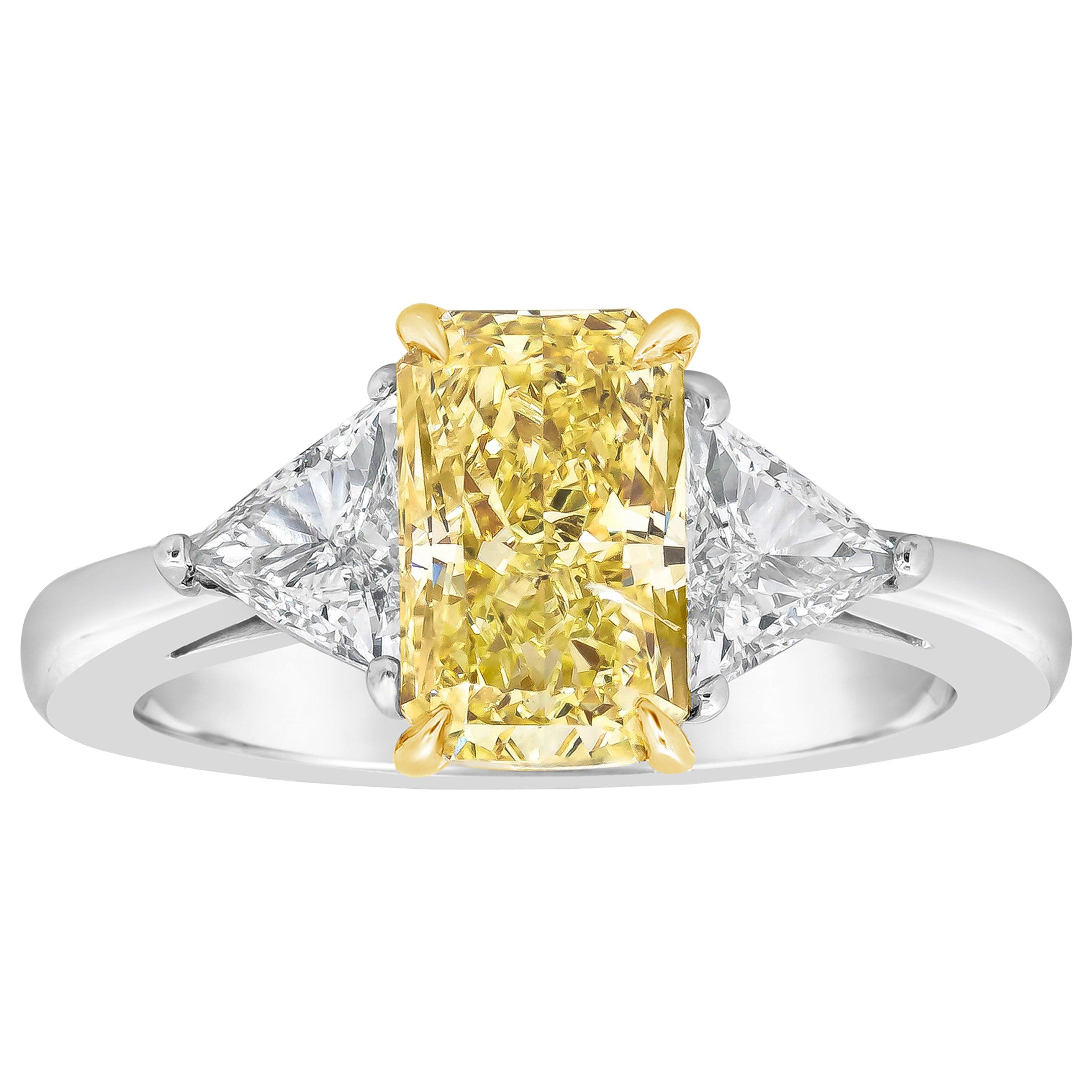 Roman Malakov Yellow Radiant Cut Diamond Three-Stone Engagement Ring