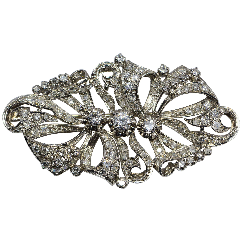 Estate Diamond and Platinum Brooch 2.98 Carats