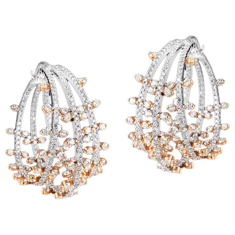 White Diamond 18k Gold Hoop Earrings