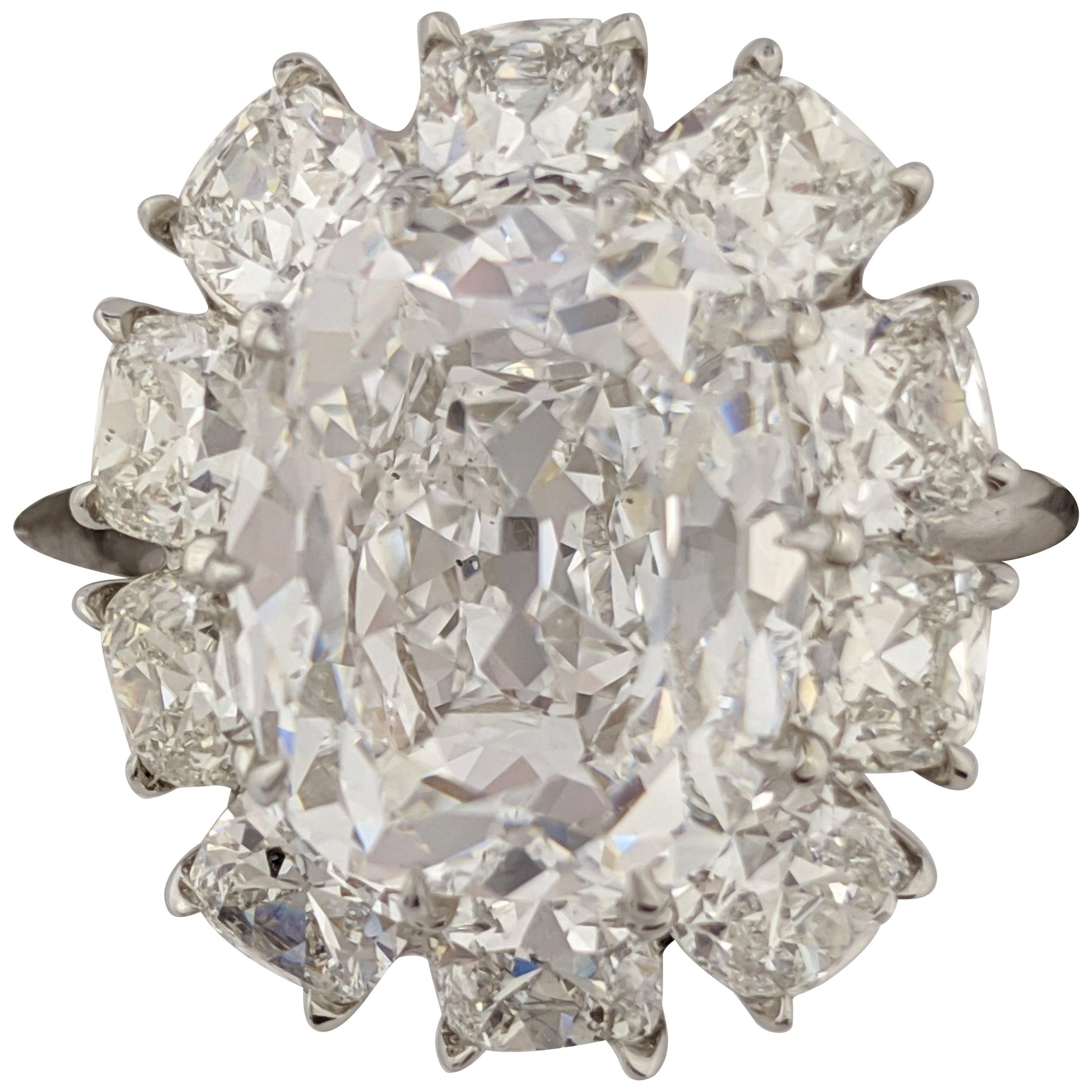 7 Carat Cushion Cut D VS1 Diamond Ring in Platinum, GIA