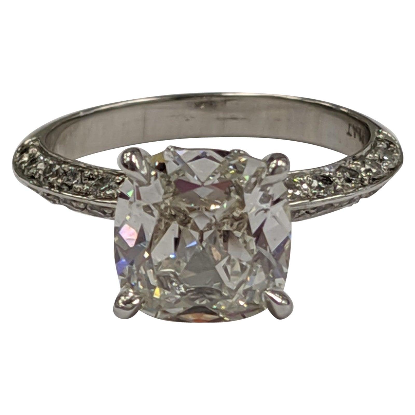 2 Carat Vintage Cushion Cut Diamond Ring GIA J SI1 in Platinum