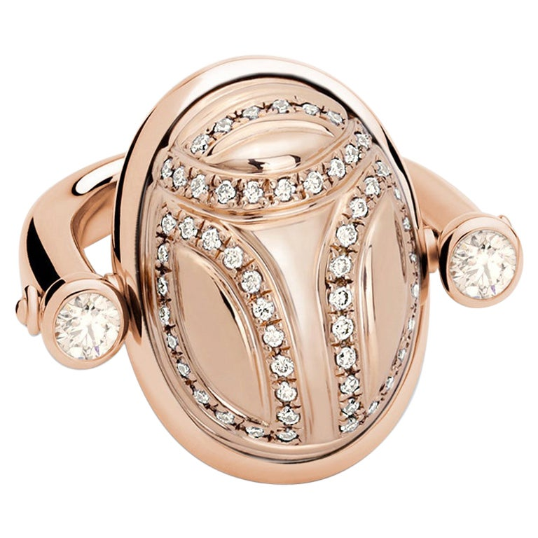 Scarab Ring in 18 Carat Rose Gold and Cognac Colored Diamonds 1.06 Carat