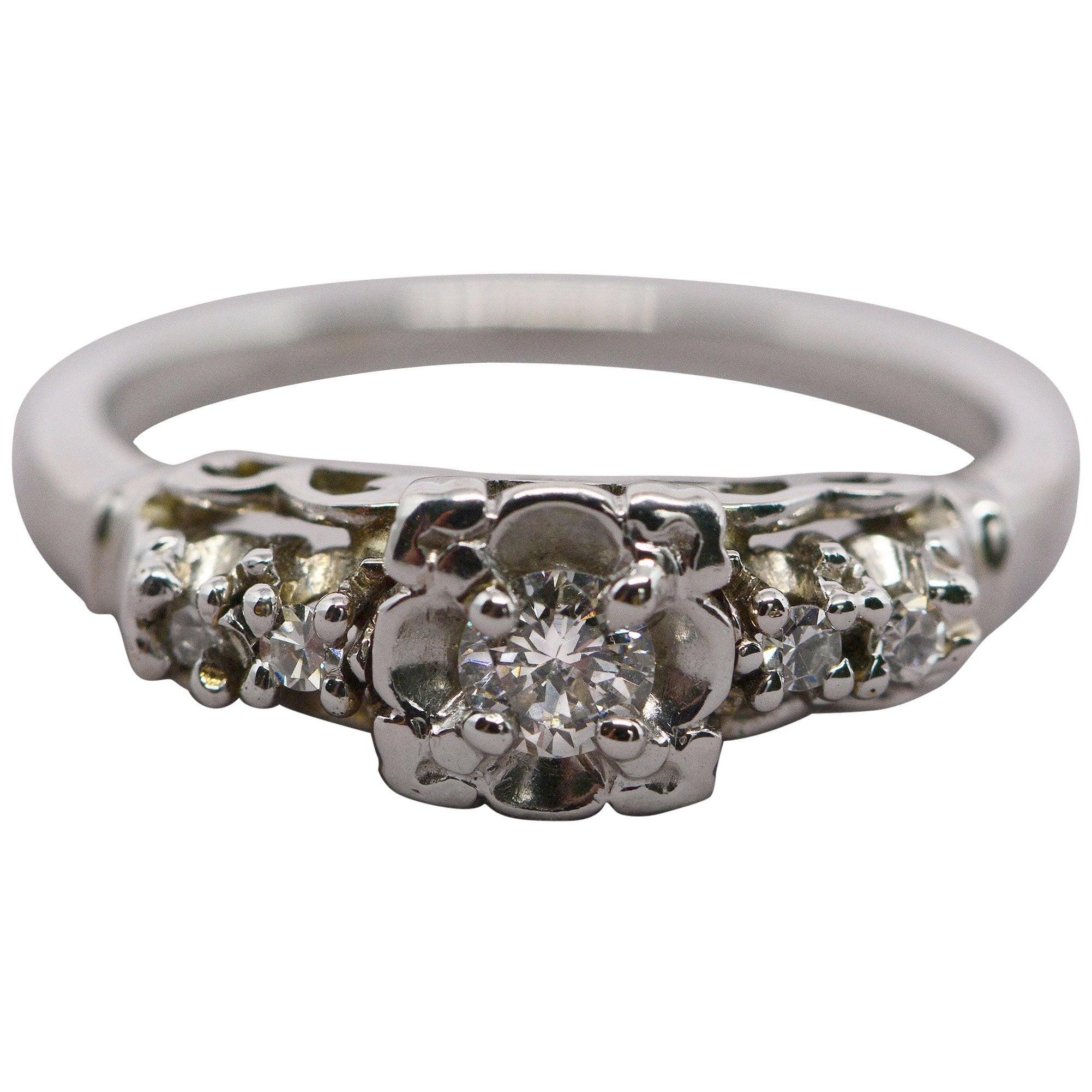 Five Diamond 14 Karat White Gold Platinum Ring