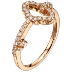 0.27 Carat Pavé Diamond 18 Karat Rose Gold Key Stackable Ring