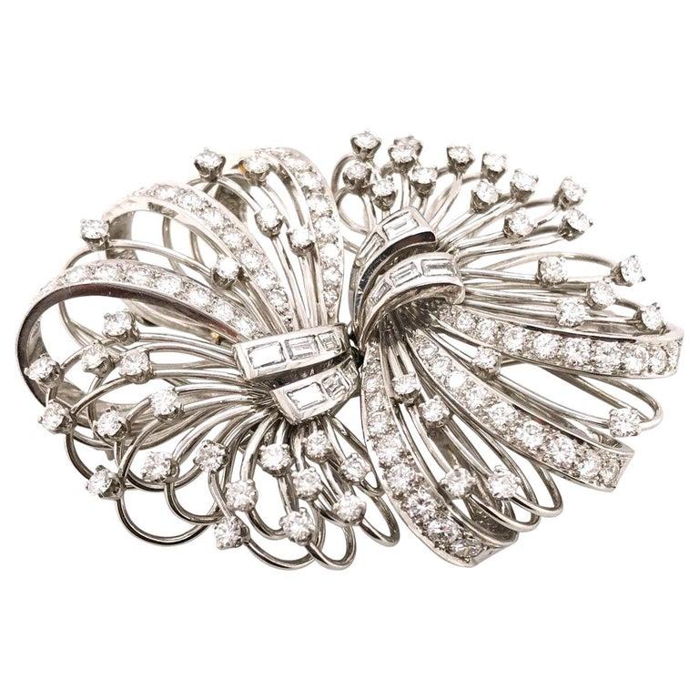 6.50 Carat Diamond Platinum and 14 Karat Double Clip Brooch For Sale