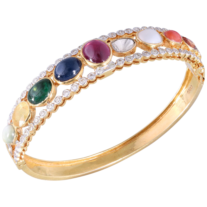 18k Gold Garnet Emerald Sapphires Catseye Pearl Coral Ruby Diamond Bracelet