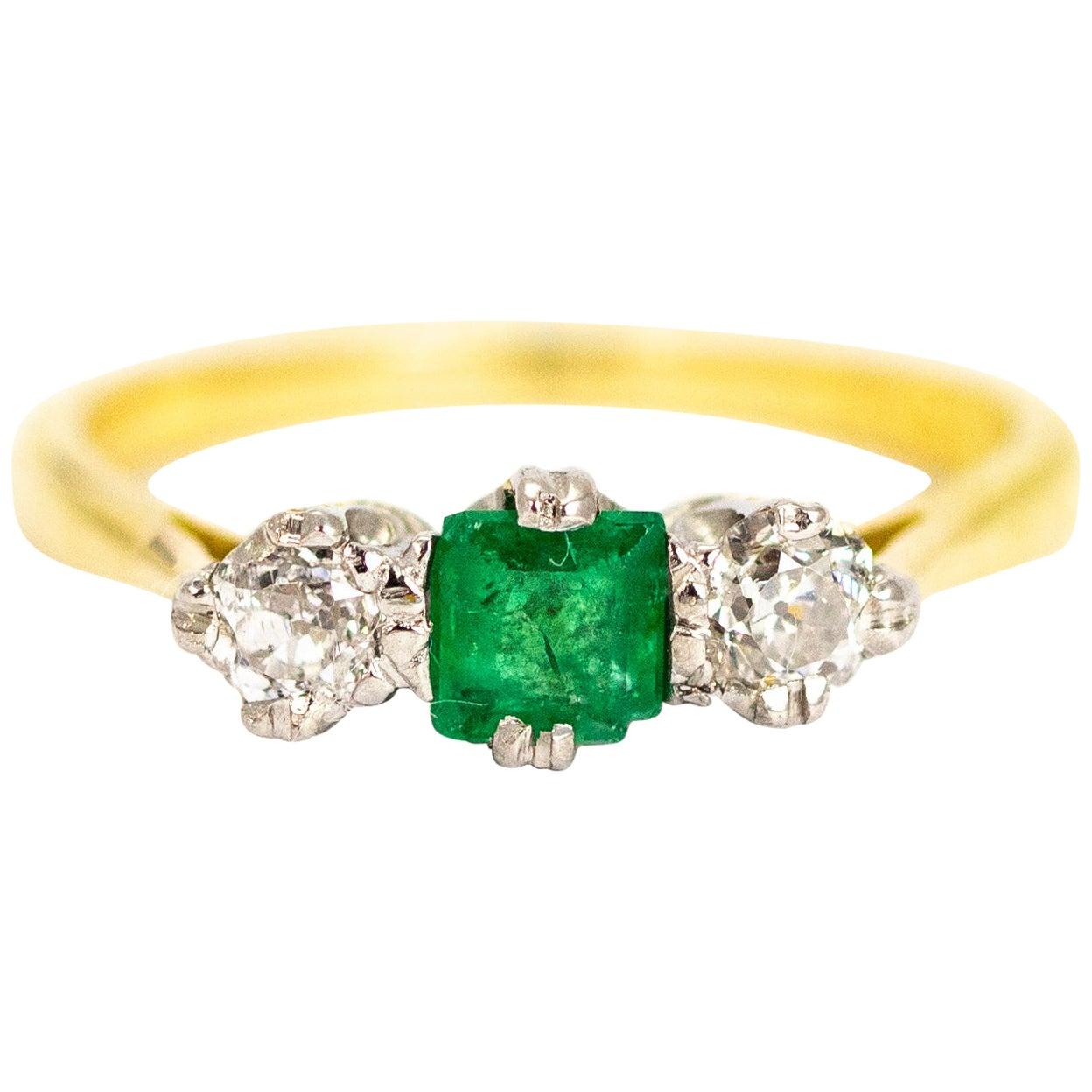 Vintage 18 Carat Gold Emerald and Diamond Three-Stone Ring