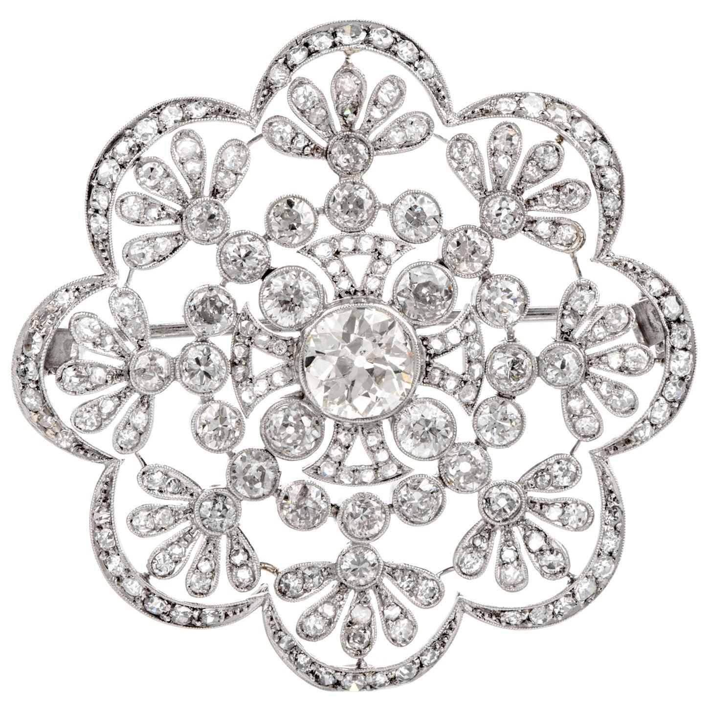 1920s Antique Old European Diamond Flower Openwork Platinum Pin Brooch
