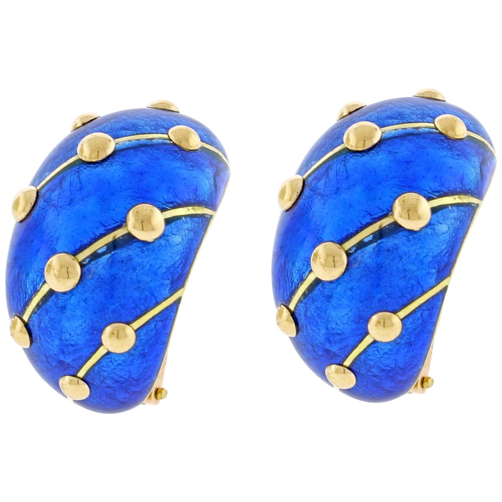 Jean Schlumberger for Tiffany & Co. Cobalt Blue Enamel Banana Earrings