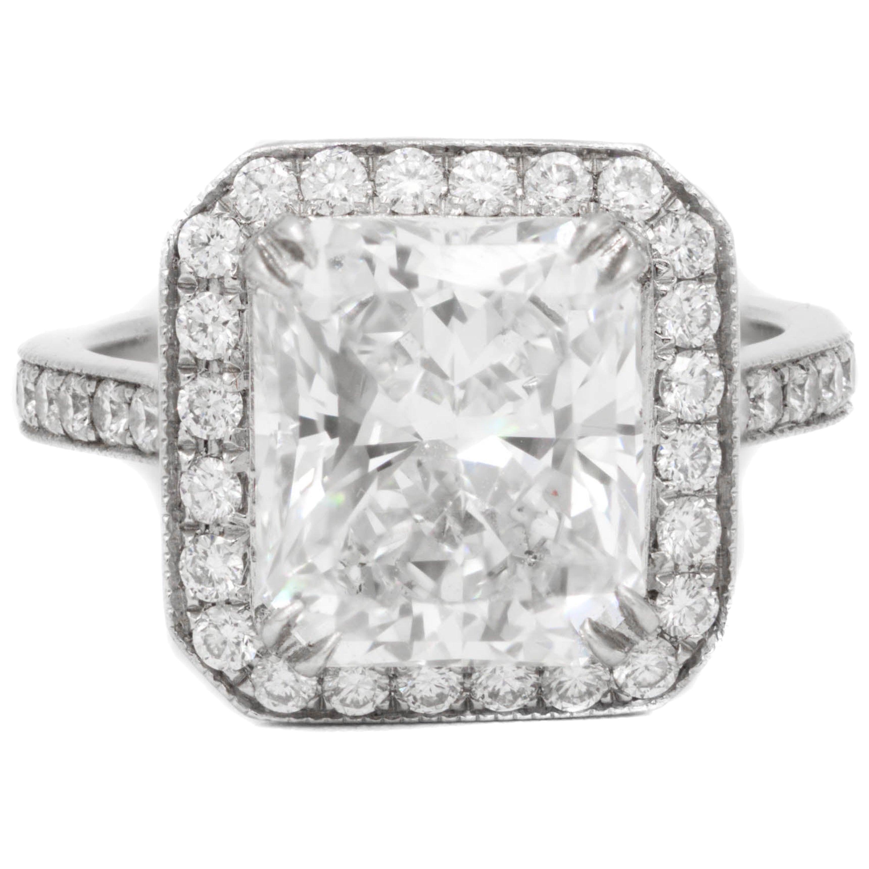 GIA Certified 4.18 Carat G-VS2 Radiant Diamond Ring