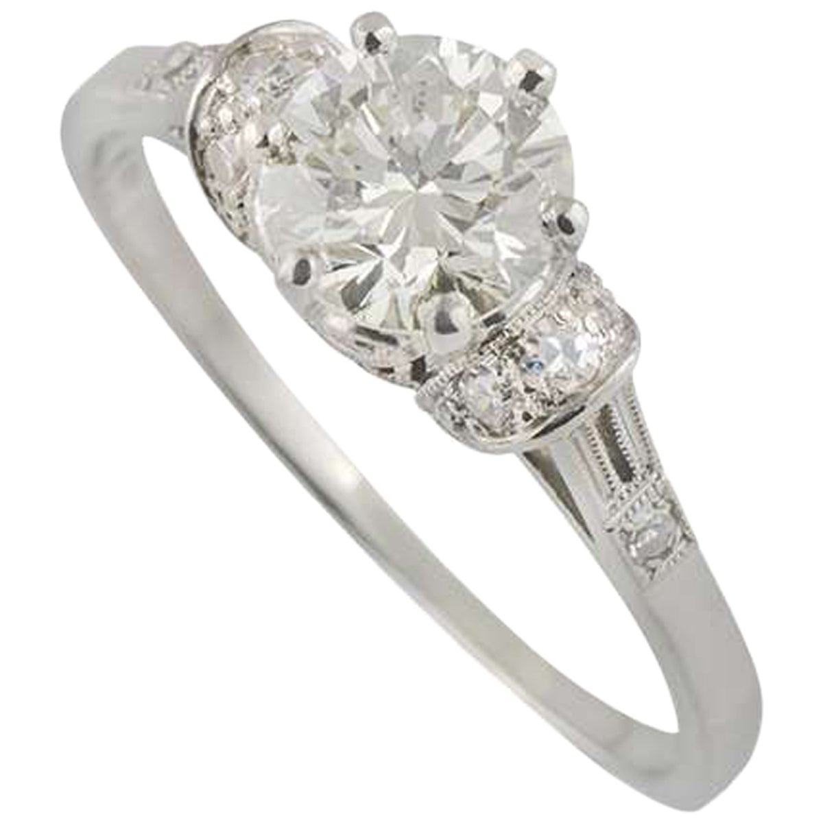 Certified Old Cut Diamond Platinum Engagement Ring 0.88 Carat