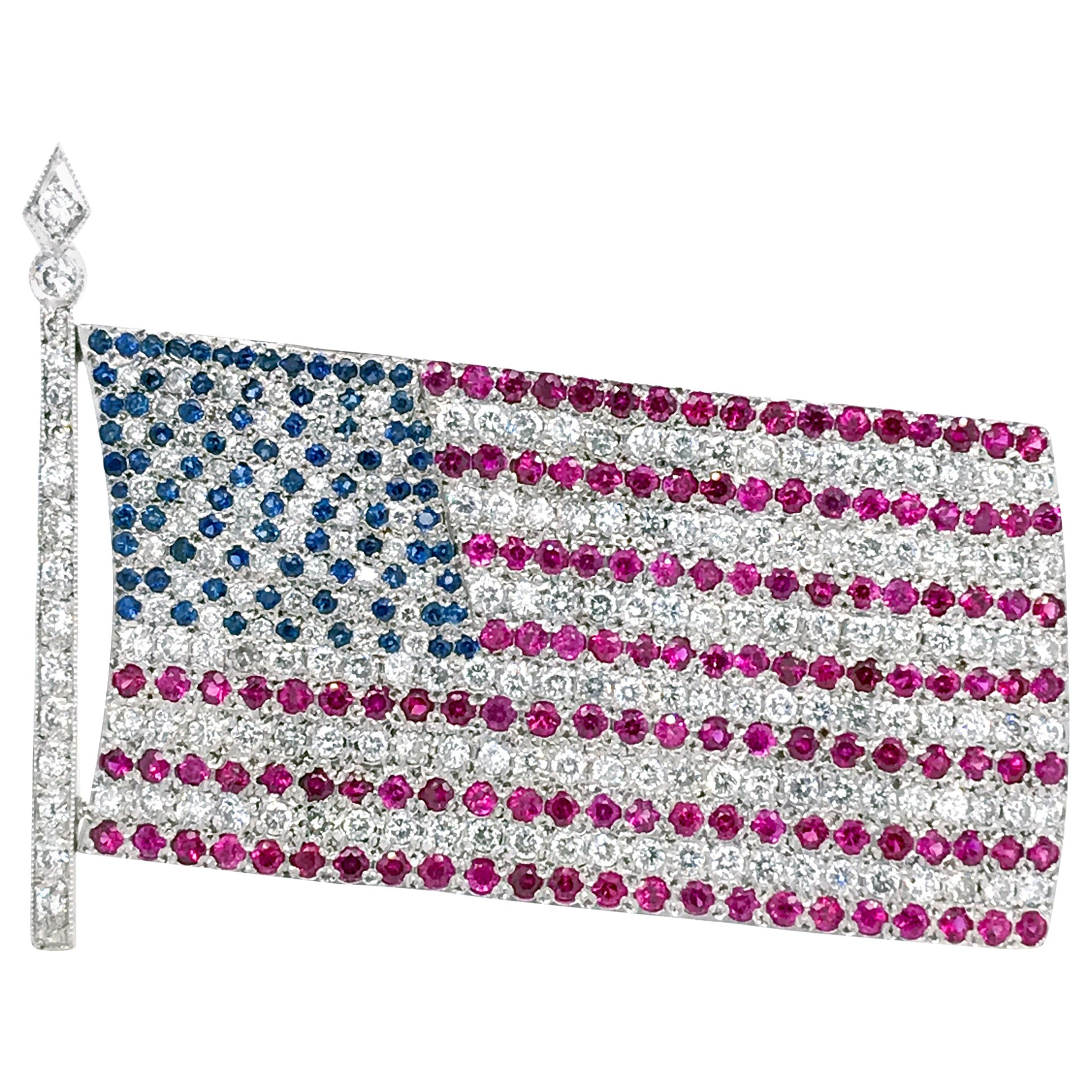 American Flag Brooch with Diamond Ruby and Sapphire