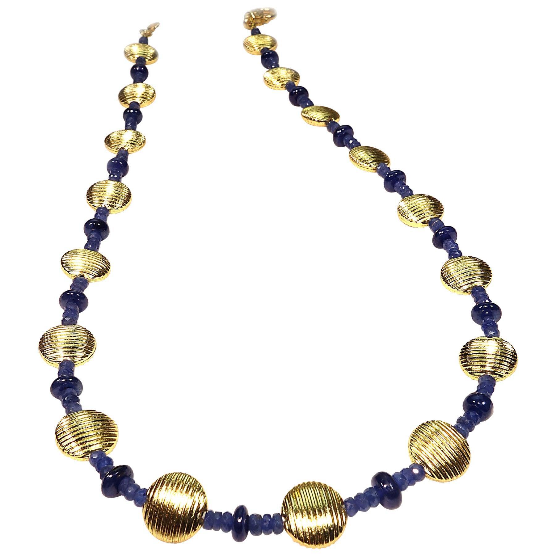 Gemjunky Elegant Blue Sapphire and Gold Choker Necklace