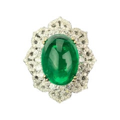 Certified 11.48 Carat Emerald Cabochon and Diamond Cocktail Ring