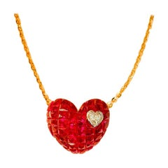 18 Karat Rose Gold Ruby and Diamond Heart Pendant Invisible Setting