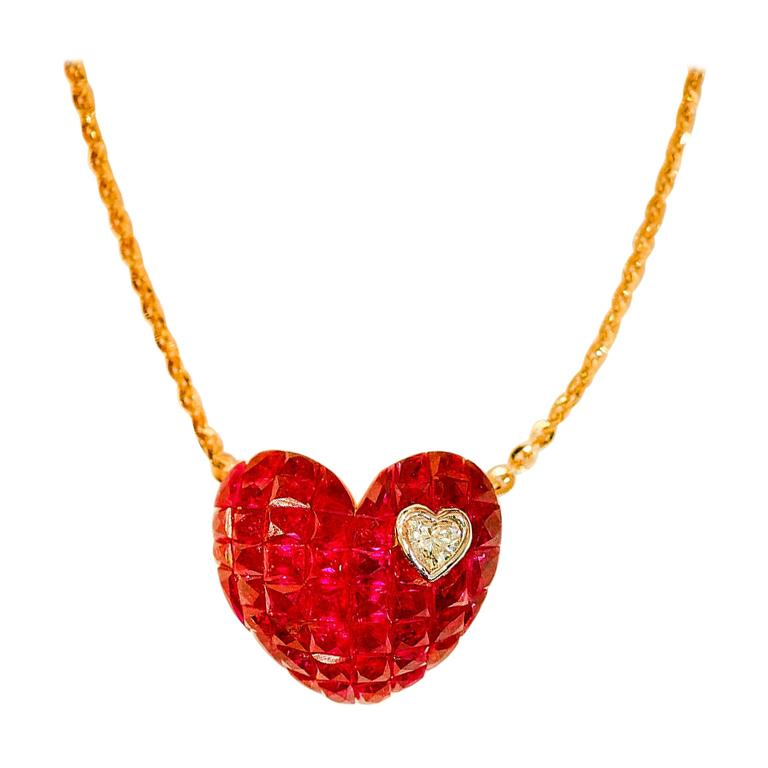 18 Karat Rose Gold Ruby and Diamond Heart Pendant Invisible Setting For Sale