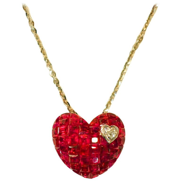 18 Karat White Gold Ruby and Diamond Heart Necklace in Invisible Setting For Sale