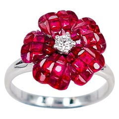 18 Karat White Gold Flower Invisible Ruby Ring