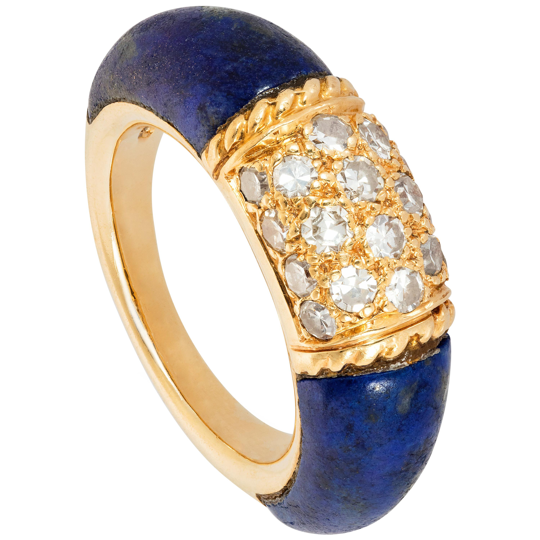 18 Karat Gold, Lapis Lazuli and Diamond Philippine Ring by Van Cleef & Arpels