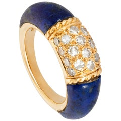 18 Karat Gold, Lapis Lazuli and Diamond Philippine Ring by Van Cleef & Arpels