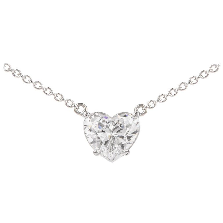 Dover Diamond  Heart GIA 2.06 Carats D-SI1 Platinum Choker Pendant Necklace For Sale