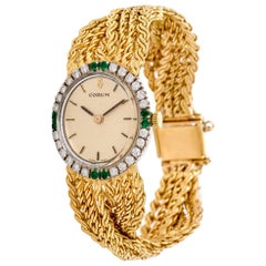 1970s Corum Diamond Emerald 18 Karat Braided Gold Ladies Watch