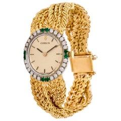 1970s Corum Diamond Emerald 18 Karat Braided Gold Ladies Watch