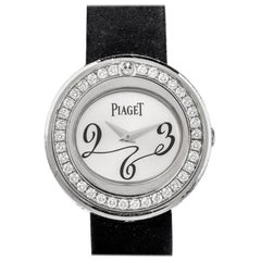 Piaget Possession Diamond Bezel 18 Karat Gold Black and Pink Strap Ladies Watch