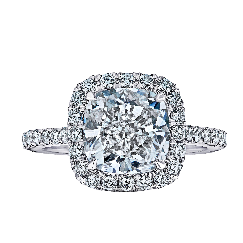 GIA Certified 3.41 Cushion Cut Diamond Ring