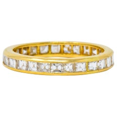 Oscar Heyman 1.35 Carat Square Step Diamond 18 Karat Gold Eternity Band Ring