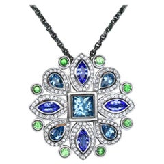 Aquamarine Tanzanite Tsavorite Sam Lehr Gold Pendant Estate Fine Jewelry