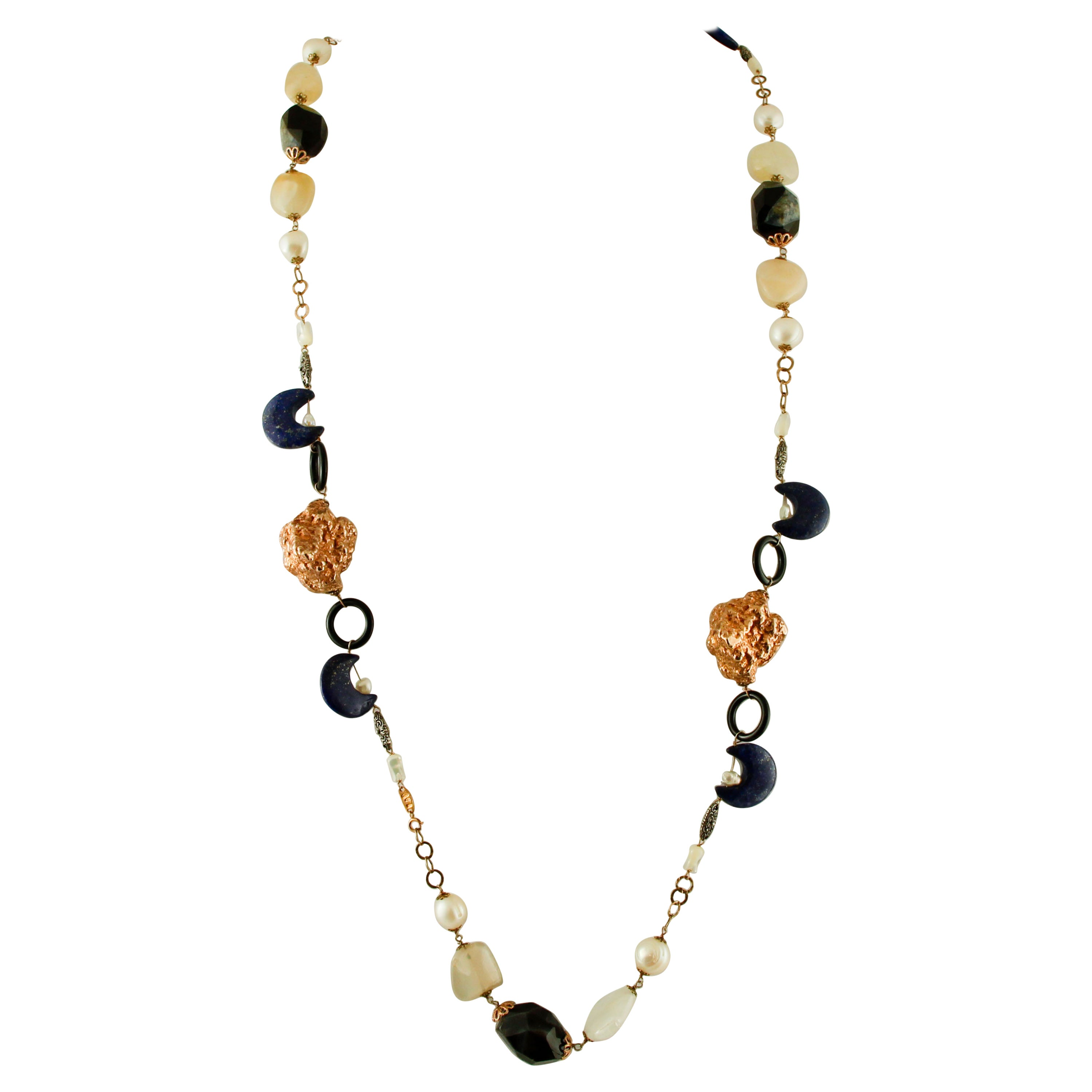 Agate,Lapis lazuli, Pearl,Mother-of-pearl,Moonstone,9k Rose Gold&Silver Necklace