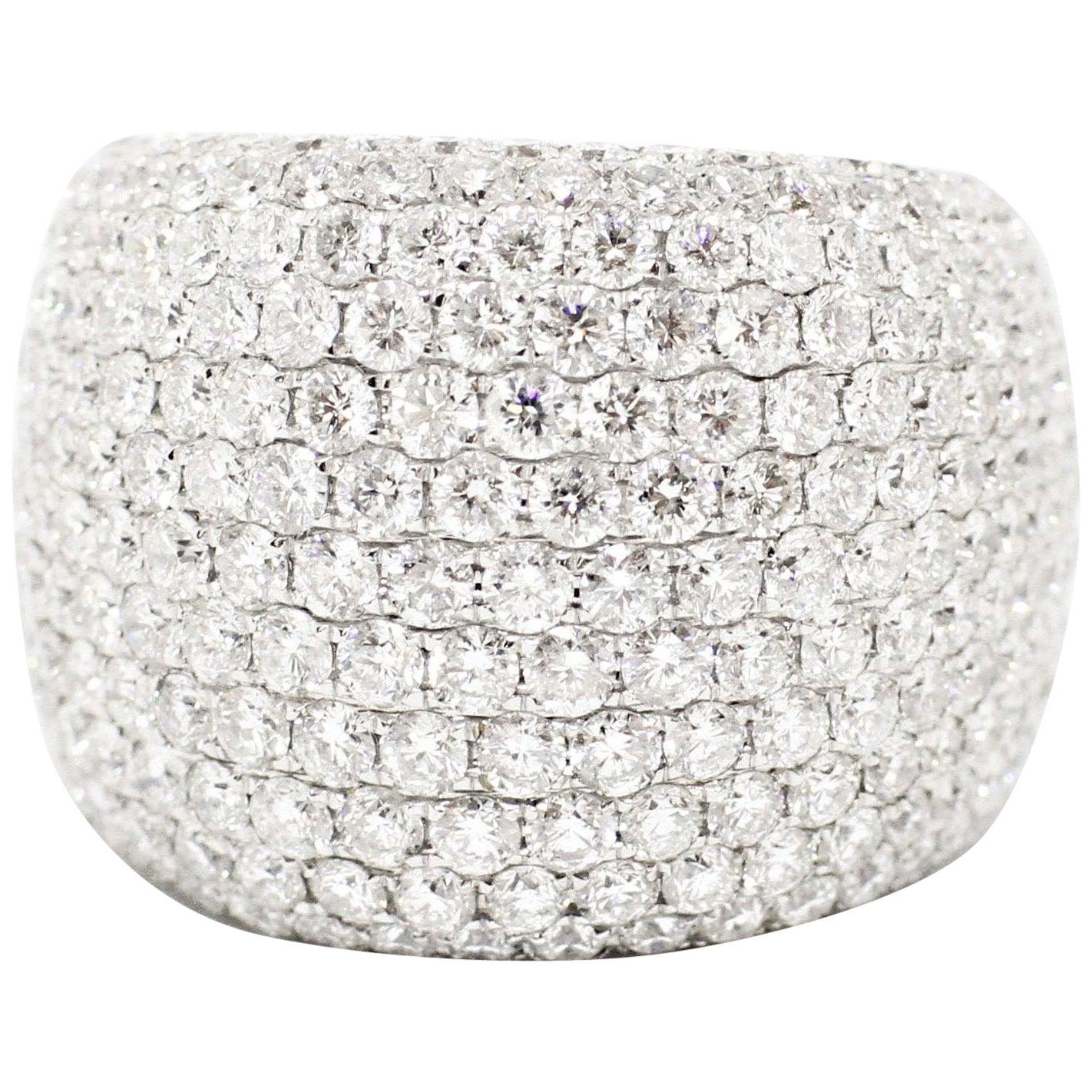 Diamond Bombé Dome Cluster 18 Carat White Gold Cocktail Ring