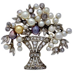 Art Deco Flower Bouquet Orient Pearl Diamond Platinum Brooch