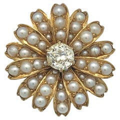 Late Victorian Diamond Oriental Pearl Gold Daisy Flower Brooch Pendant