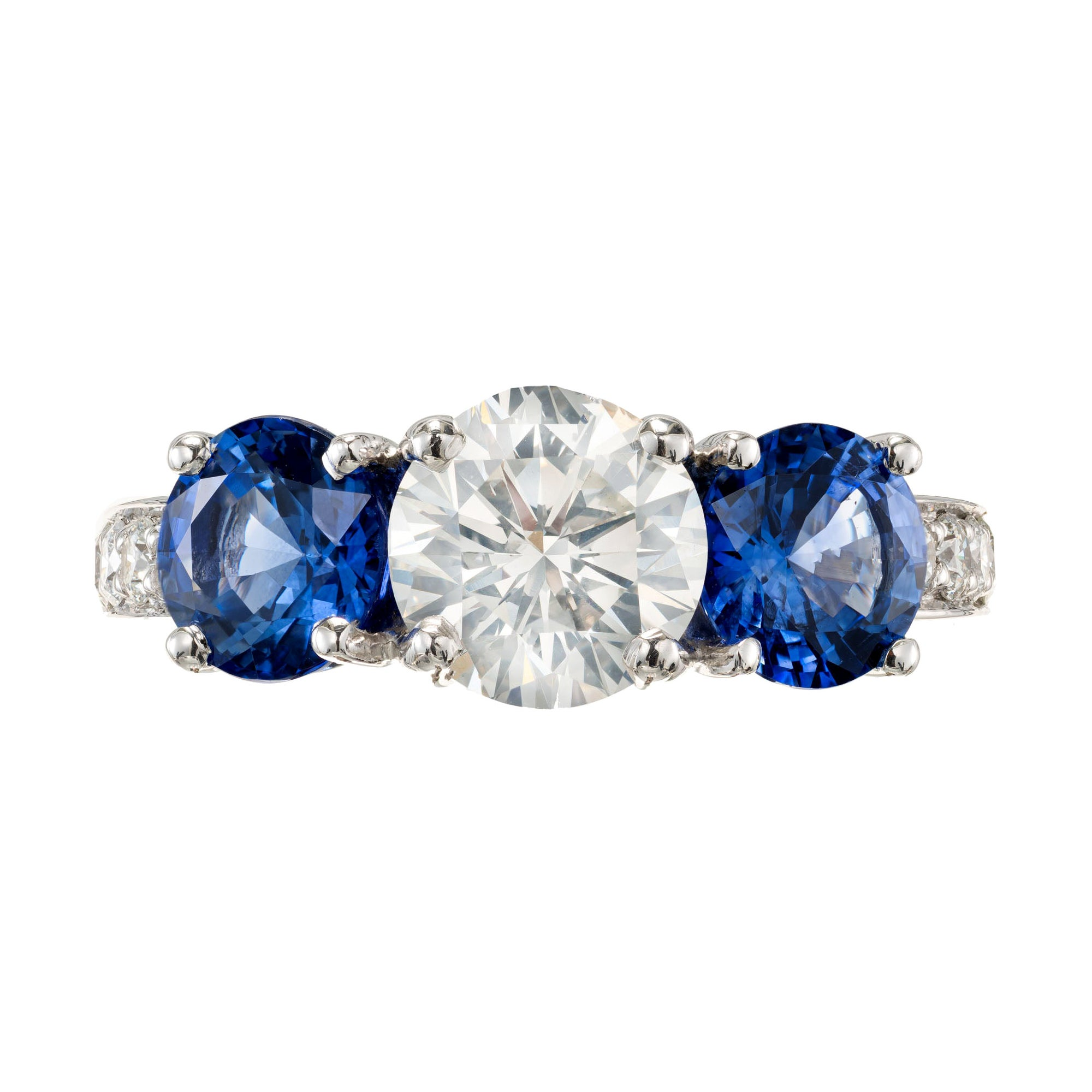 Peter Suchy GIA Certified 2.45 Carat Diamond Sapphire Platinum Engagement Ring