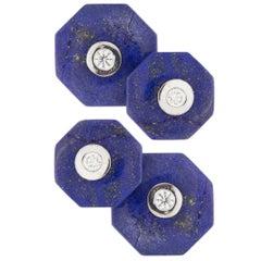 Jona Lapis Lazuli White Diamond 18 Karat White Gold Octagonal Cufflinks