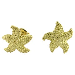 Vintage Tiffany & Co. 18 Karat Yellow Gold Bumpy Starfish Stud Earrings