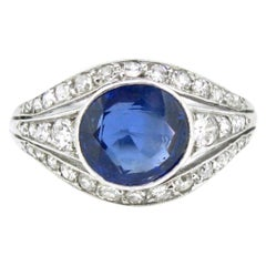 Edwardian Belle Epoque 2.2 Carat Burmese Sapphire Diamond Platinum Ring